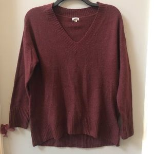 Garage Burgundy V-Neck Tunic Sweater